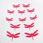 Set 12 glans 3D libellen fuchsia roze