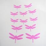Set 12 glans 3D libellen roze