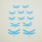 Set 12 glans 3D libellen blauw