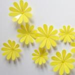 Set 12 glans bloemen geel