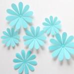 Set 12 glans bloemen blauw