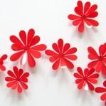 Set 12 glans bloemen rood