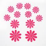 Set 12 glans bloemen roze fuchsia
