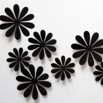 Set 12 glans bloemen zwart