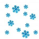 Set 12 glans ijskristallen/sneeuwvlokken blauw