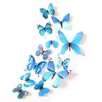 Set 12 deco-glans vlinders blauw