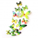 Set 12 deco-glans vlinders groen