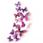 Set 12 deco-glans vlinders paars