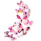 Set 12 deco-glans vlinders roze