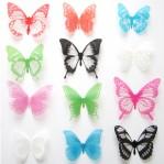 Set 12 deco vlinders semi transparant gemengd