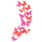 Set 12 deco stippen vlinders rood roze