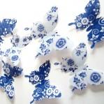 Set 12 deco bloemmotief vlinders blauw