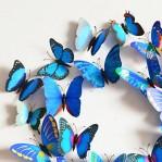 Set 12 deco vlinders blauw