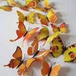 Set 12 deco vlinders geel