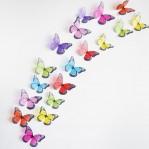 Set 18 deco vlinders semi-transparant gemengd
