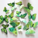 Set 12 deco vlinders groen