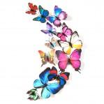 Set 12 deco vlinders mix - diverse kleuren