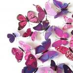 Set 12 deco vlinders paars