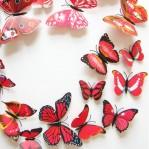 Set 12 deco vlinders rood