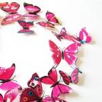 Set 12 deco vlinders roze