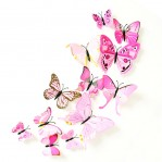 Set 12 deco vlinders licht-roze