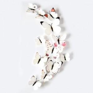 Set 12 deco vlinders wit