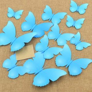 Set 12 vlinders fel blauw