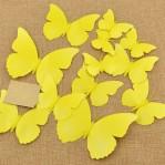 Set 12 vlinders fel geel-oranje