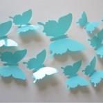 Set 12 glans vlinders aqua blauw