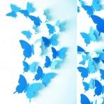 Set 12 glans vlinders blauw lichtblauw