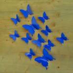 Set 12 glans vlinders donker blauw