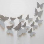 Set 12 glans vlinders grijs