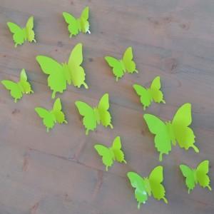 Set 12 glans vlinders groen felgroen