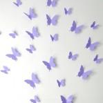 Set 12 glans vlinders lavendel