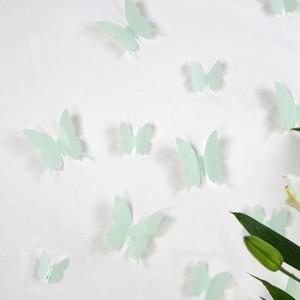 Set 12 glans vlinders groen mintgroen
