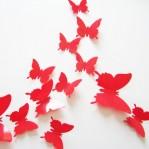 Set 12 glans vlinders rood