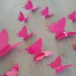 Set 12 glans vlinders roze fuchsia