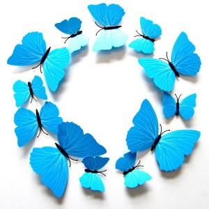 Set 12 vlinders soft blauw