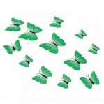 Set 12 vlinders soft donkergroen