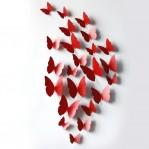 Set 12 vlinders soft rood