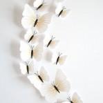 Set 12 vlinders soft wit