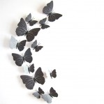 Set 12 vlinders soft zwart
