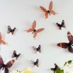 Set 18 deco vlinders semi transparant bruin
