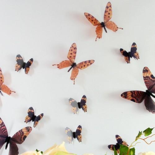 Set 18 deco vlinders semi transparant bruin - Deco kamer bruin ...