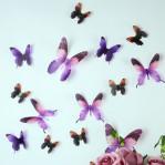 Set 18 deco vlinders semi transparant paars