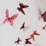 Set 18 deco vlinders semi transparant rood