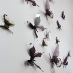 Set 18 deco vlinders semi transparant zwart