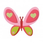 Painted Wood - Vlinder roze 9.5x7.6