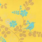 GE10 - Geel met aqua-blauwe vogels en bloemen