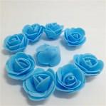Foam roosje 2cm 5 stuks - blauw
